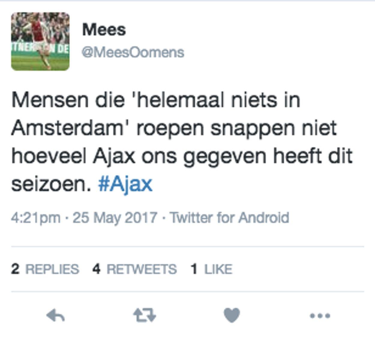 Reactie Ajaxfan op Rotterdamse haat