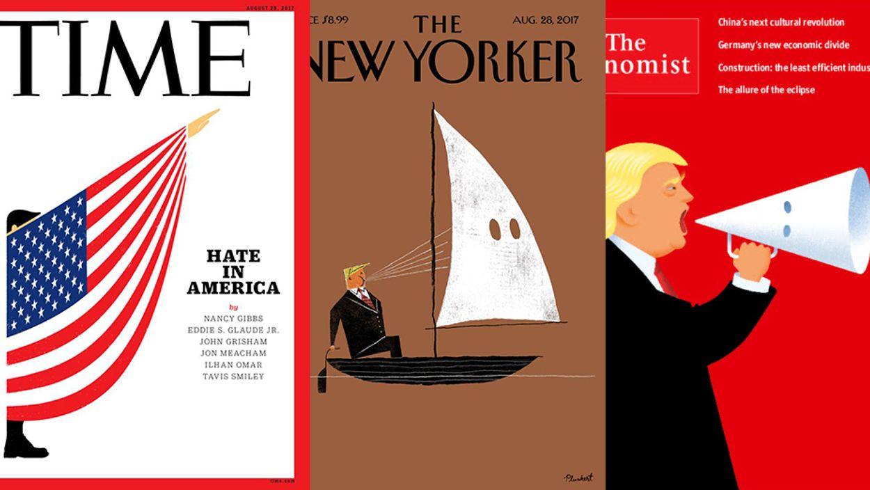 Afbeelding van Drie grote weekbladen maken gehakt van Trump