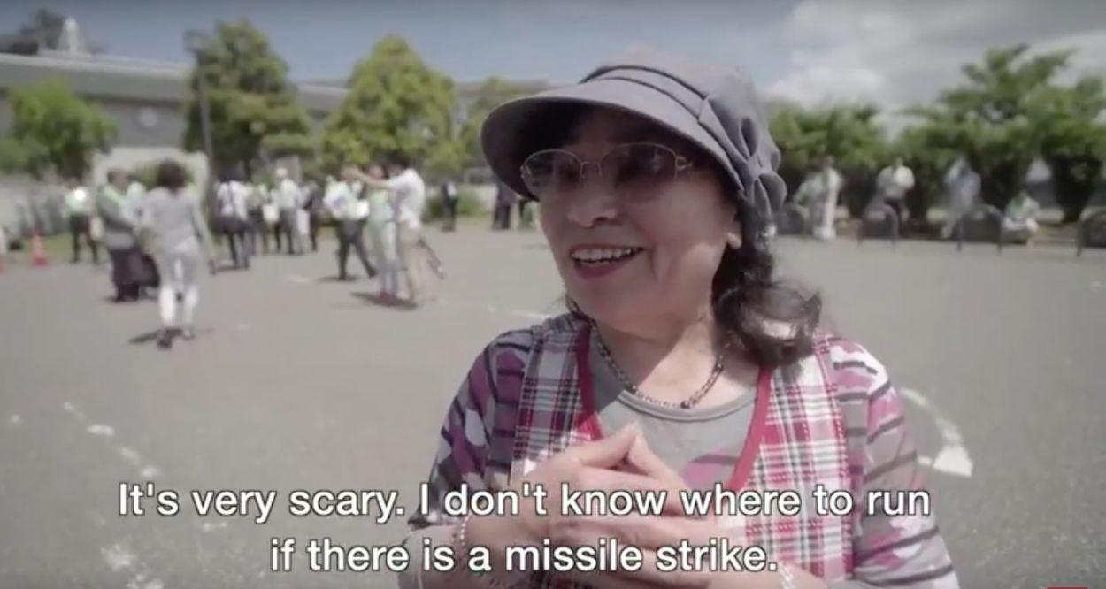 Afbeelding van Japanse burgers oefenen alvast voor kernaanval van Noord-Korea