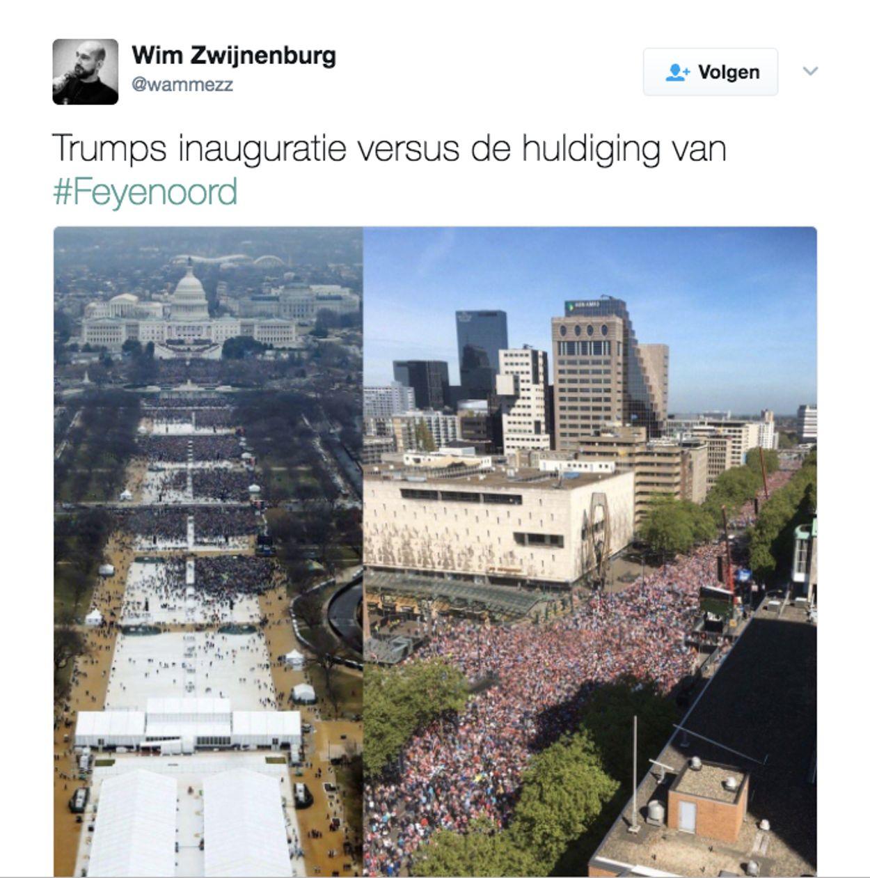 Trumps inauguratie vs. huldiging Feyenoord
