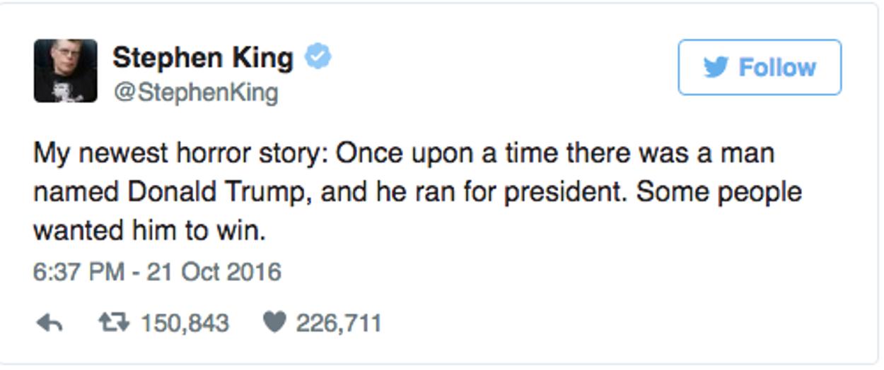 King geen fan van Trump