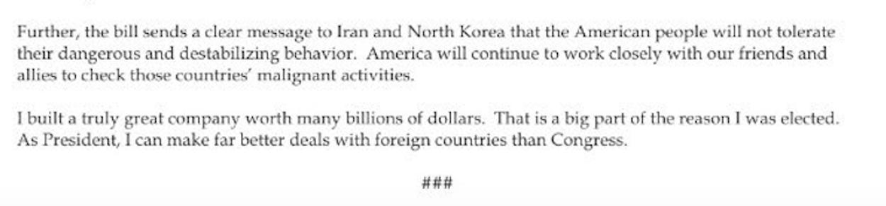 Brief sancties Rusland Trump
