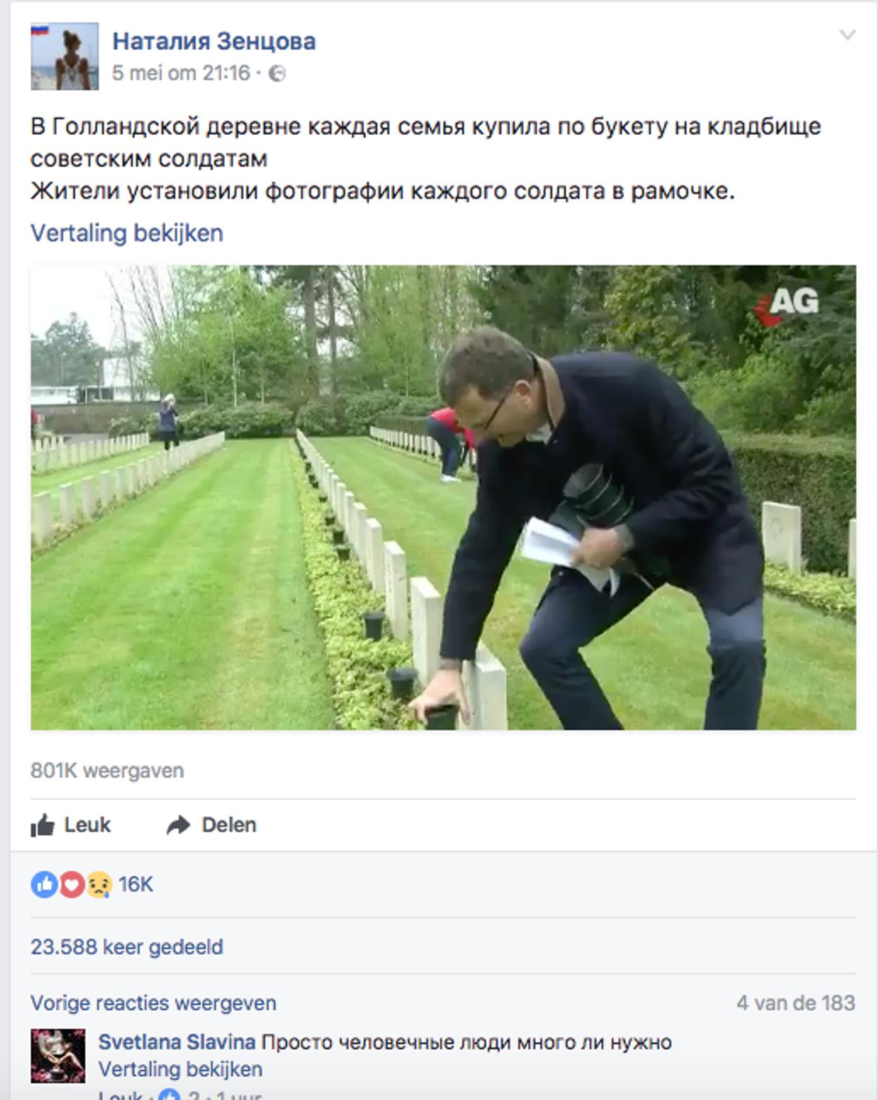 FB-post russisch ereveld