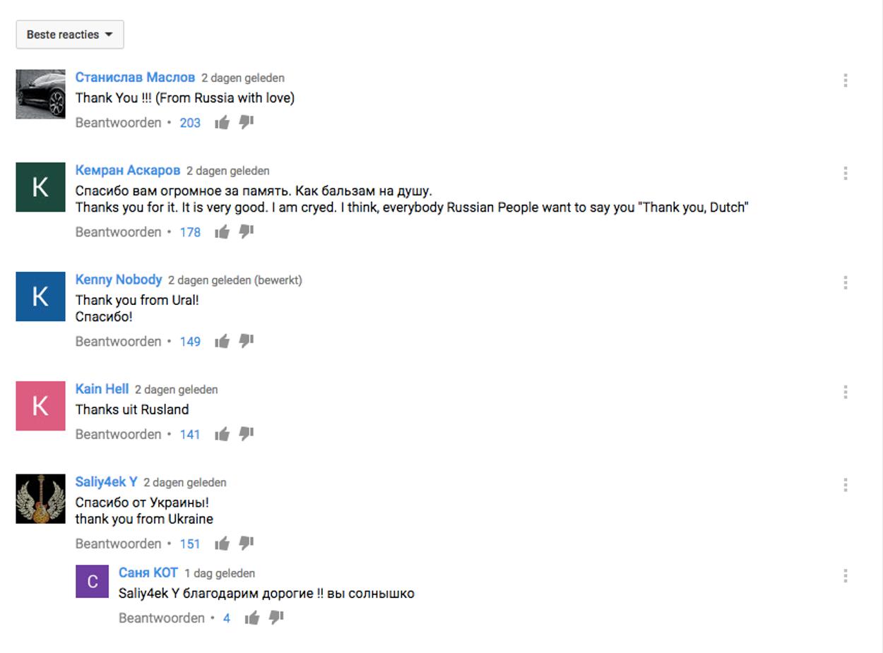 Russische reacties op YouTube